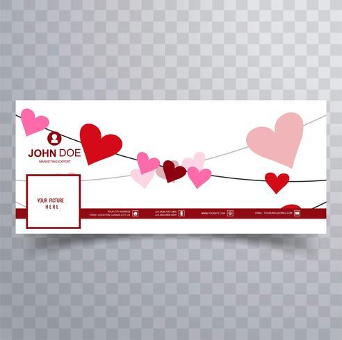 Abstracte Valentijnsdag facebook cover ontwerp illustratie vector