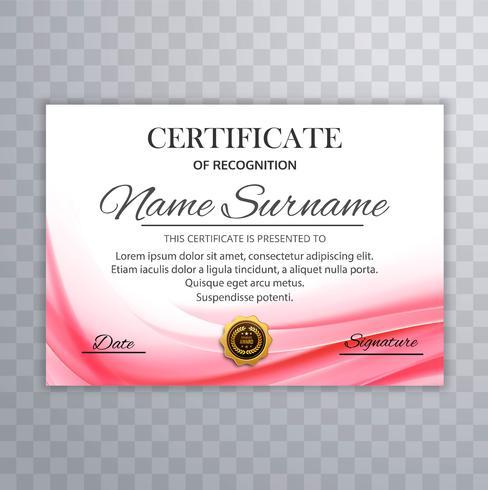 Mooie golvende certificaatillustratie als achtergrond vector