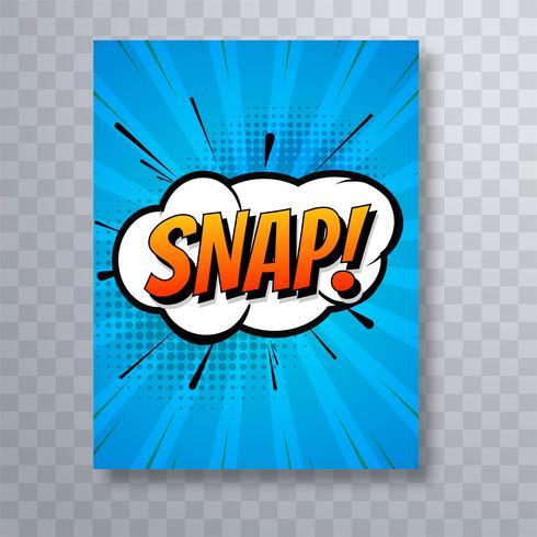 Snap kleurrijke komische popart brochure sjabloonontwerp vector