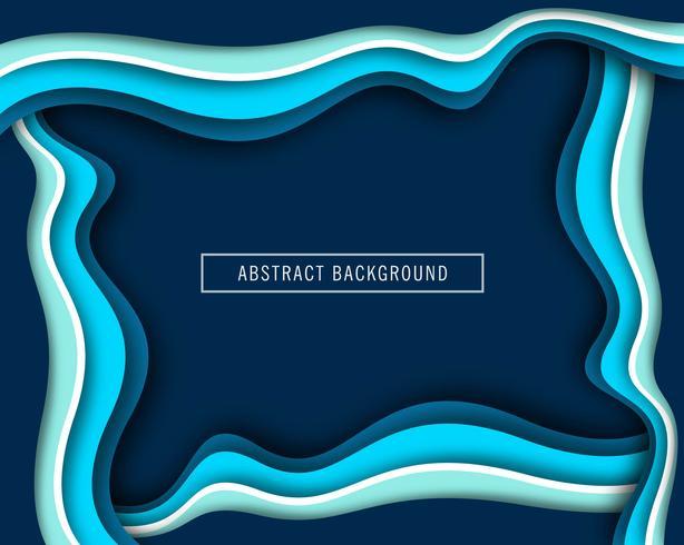 Mooie golf blauw papier gesneden ontwerp vector