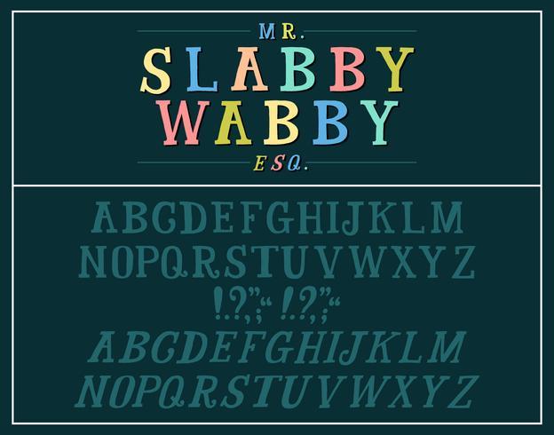Hand getekende plaat serif alfabet vector