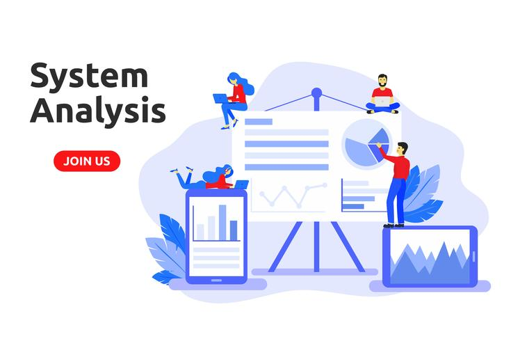 Modern, plat ontwerpconcept voor systeemanalyse. Big data analysi vector