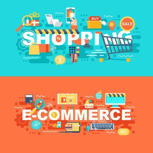 Winkelen en e-commerce set van platte concept vector