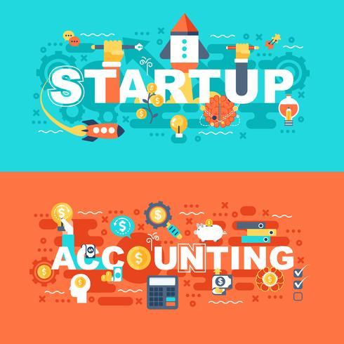 Opstarten en boekhoudkundige set van platte concept vector