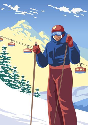 Man Skiër vector