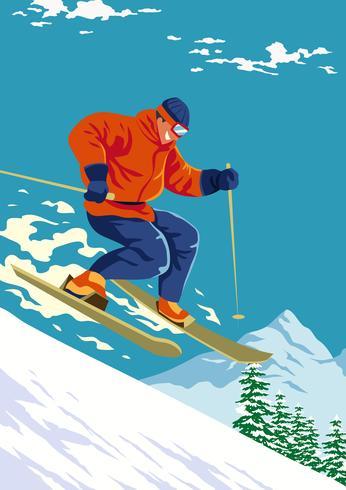 Skiër springen vector