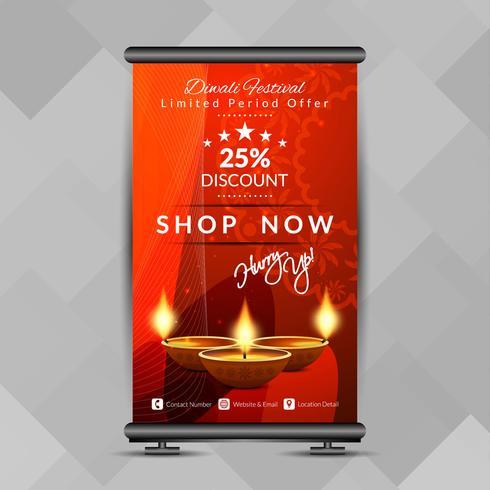 Abstracte stijlvolle Happy Diwali roll-up banner ontwerpsjabloon vector