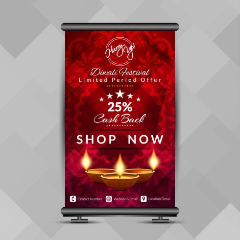Abstracte Happy Diwali elegante samenvouwen banner ontwerpsjabloon vector