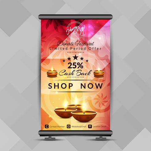 Abstracte stijlvolle Happy Diwali roll-up banner ontwerpsjabloon vector