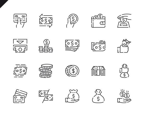 Simple Set Money Line Icons voor Website en Mobiele Apps. vector