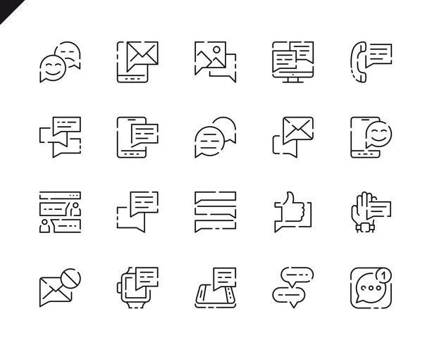 Simple Set Message Line Icons voor website en mobiele apps. vector