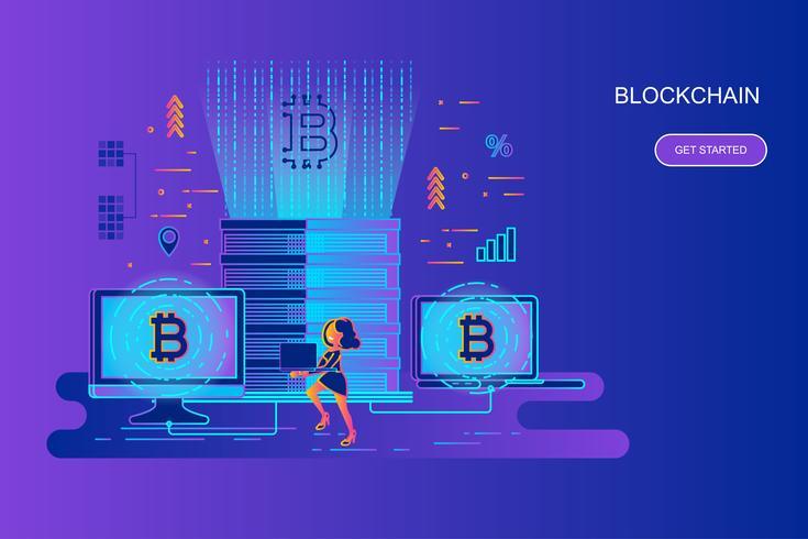 Moderne banner van het het conceptenweb van de gradiënt vlakke lijn van cryptocurrency en blockchain met verfraaid klein mensenkarakter. Bestemmingspaginasjabloon. vector