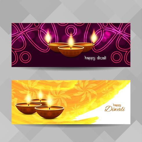 Abstracte Happy Diwali decoratieve banners instellen vector