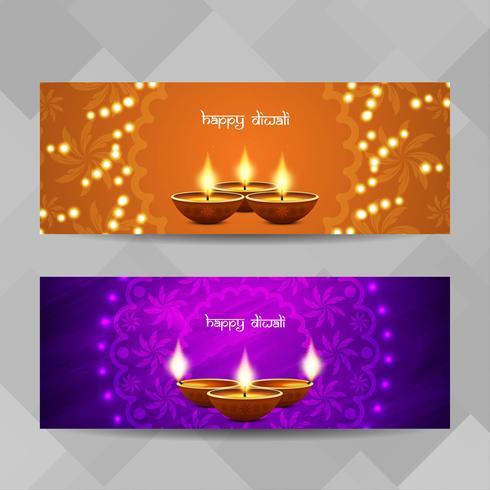 Abstracte Happy Diwali religieuze banners instellen vector