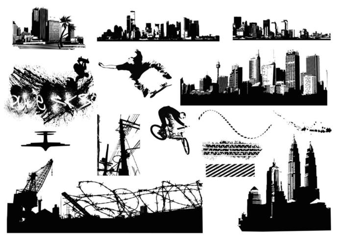 City Scènes Elementen Vector Pack