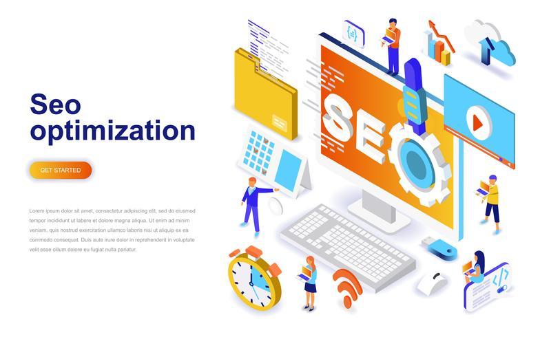 SEO optimalisatie moderne platte ontwerp isometrische concept. Zoekmachine en mensen concept. Bestemmingspaginasjabloon. vector