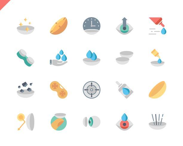 Simple Set Eye Lens Flat Icons voor website en mobiele apps. 48x48 Pixel Perfect. Vector illustratie.