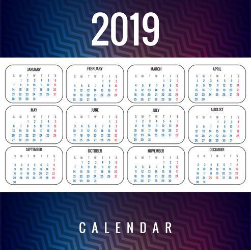 Abstract ontwerp van de Kalender 2019 van de Kalender kleurrijk vector