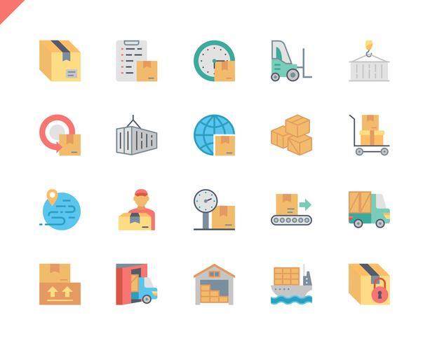 Simple Set Package Delivery Flat Icons voor Website en Mobiele Apps. 48x48 Pixel Perfect. Vector illustratie.