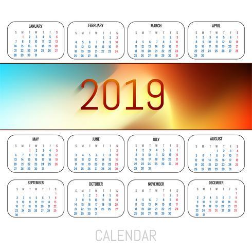 Abstracte kalender kleurrijke 2019-malplaatjeachtergrond vector