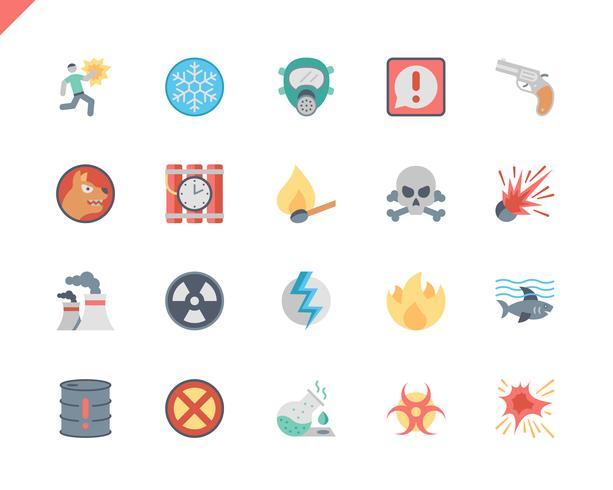 Simple Set Waarschuwingen Vlakke pictogrammen voor website en mobiele apps. 48x48 Pixel Perfect. Vector illustratie.