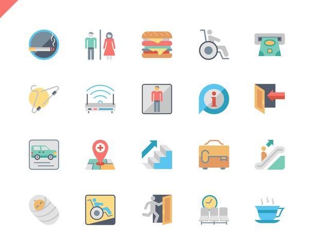 Eenvoudige set openbare navigatie plat pictogrammen voor website en mobiele apps. 48x48 Pixel Perfect. Vector illustratie.