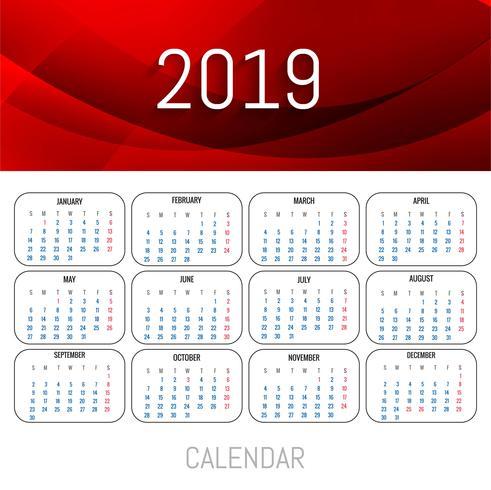Modern 2019 rood kalendersjabloon met golfvector vector