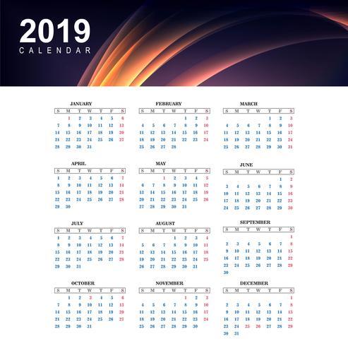2019 kleurrijke kalender met golfsjabloon vector