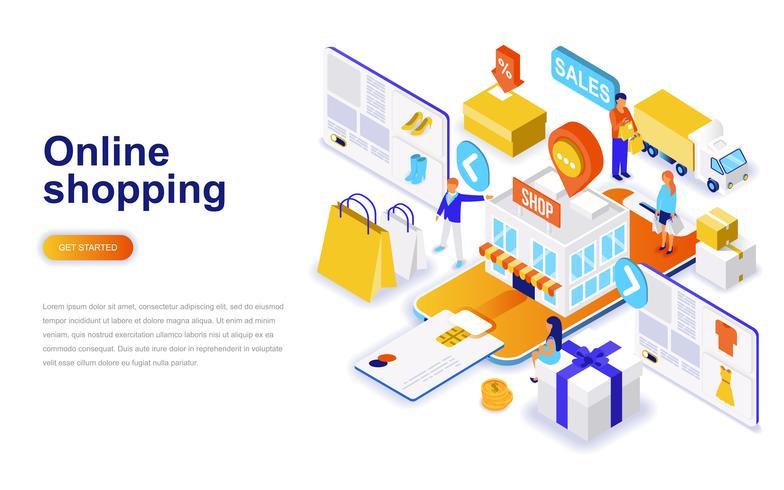 Online winkelen moderne platte ontwerp isometrische concept. Verkoop, consumentisme en mensenconcept. Bestemmingspaginasjabloon. vector
