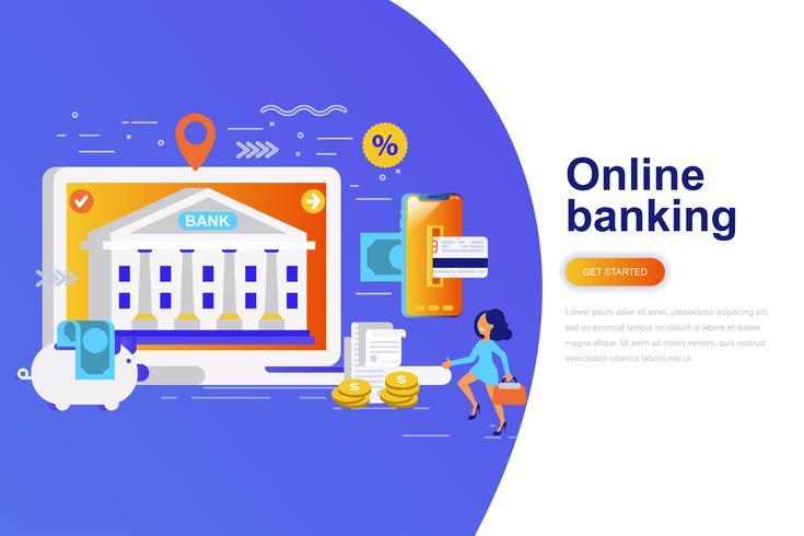 Online het conceptenbanner van het bankwezen moderne vlakke concept met verfraaid klein mensenkarakter. Bestemmingspaginasjabloon. vector