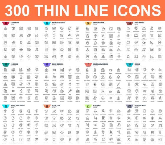Eenvoudige reeks vector dunne lijnpictogrammen. Bevat pictogrammen zoals Zakelijk, E-commerce, Reizen, Vakantie, Onderwijs, Leren, Medisch, Gezondheidszorg, Ecologie. 48x48 Pixel Perfect. Lineair pictogrampakket.