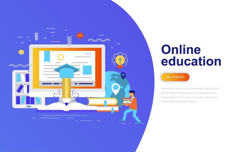 Online het conceptenbanner van het onderwijs moderne vlakke concept met verfraaid klein mensenkarakter. Bestemmingspaginasjabloon. vector