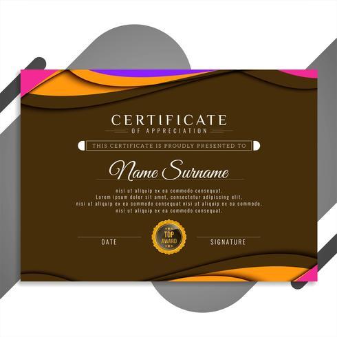 Ontwerp van de abstracte stijlvolle golvende certificaatsjabloon vector