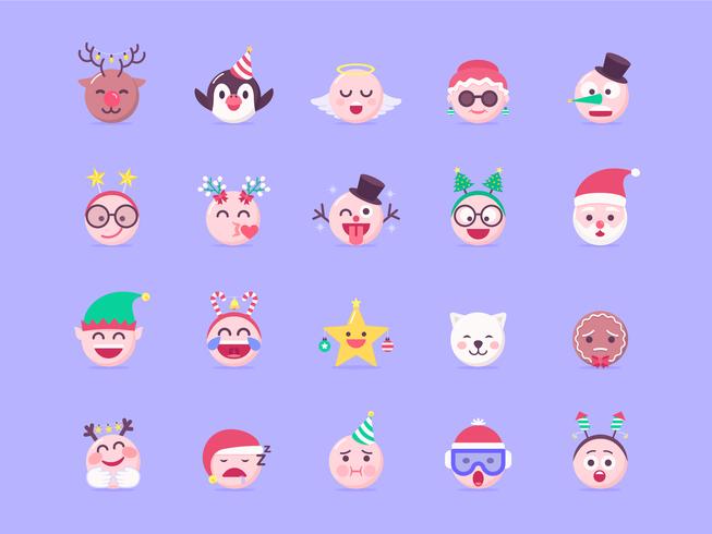 Kerst Emoji Vector Set