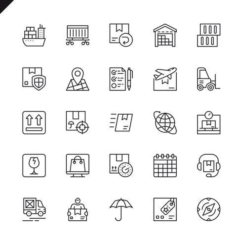 Dunne lijnlogistiek, levering, vervoerpictogrammen die voor website en mobiele plaats en apps worden geplaatst. Overzicht iconen ontwerp. 48x48 Pixel Perfect. Lineair pictogrampakket. Vector illustratie.
