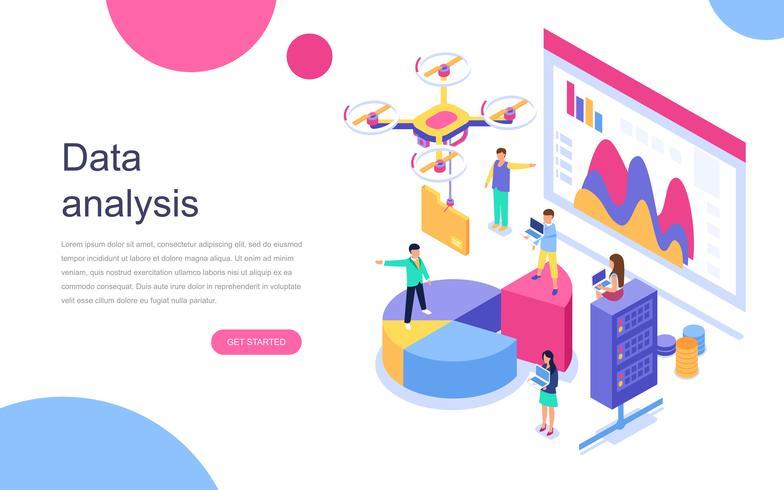 Modern plat ontwerp isometrisch concept van Auditing, gegevensanalyse voor banner en website. Bestemmingspaginasjabloon. Auditdocumentatie, economische analyse financiële begroting. Vector illustratie.