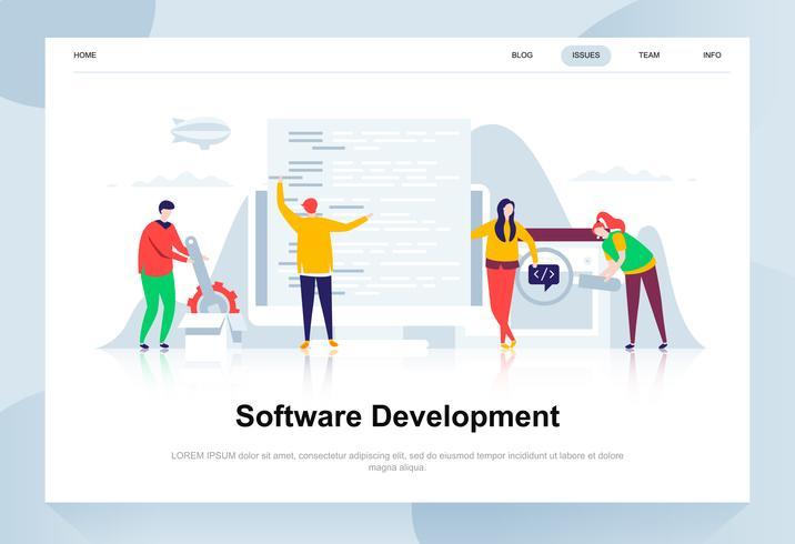 Softwareontwikkeling moderne platte ontwerpconcept. Ontwikkelaar en mensenconcept. Bestemmingspaginasjabloon. Conceptuele platte vectorillustratie voor webpagina, website en mobiele website. vector
