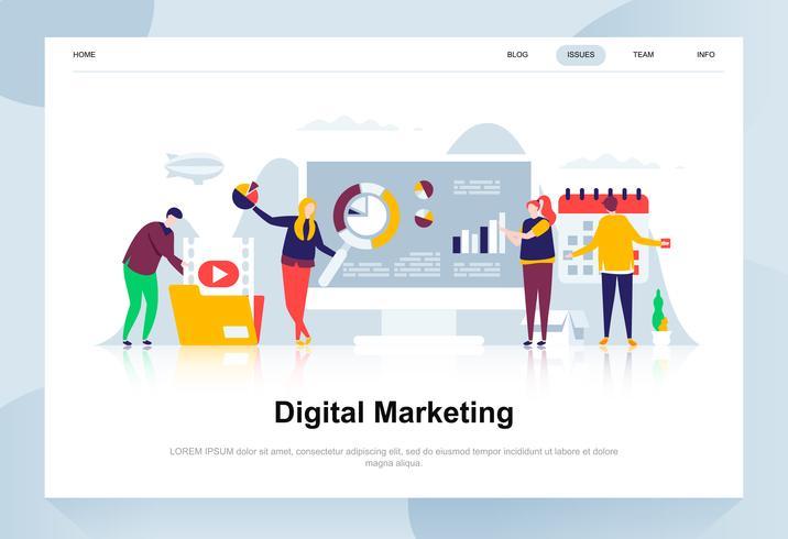 Digitaal marketing moderne platte ontwerpconcept. Reclame en mensen concept. Bestemmingspaginasjabloon. Conceptuele platte vectorillustratie voor webpagina, website en mobiele website. vector