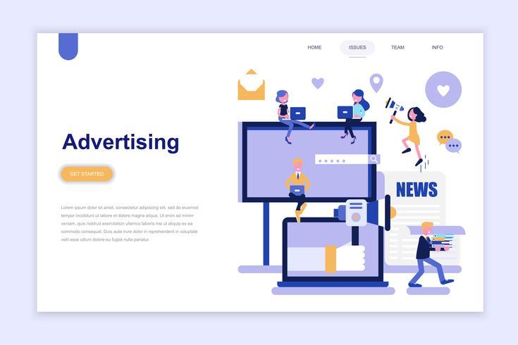 Landingspagina sjabloon van reclame en promotie moderne platte ontwerpconcept. Leren en mensen concept. Conceptuele platte vectorillustratie voor webpagina, website en mobiele website. vector
