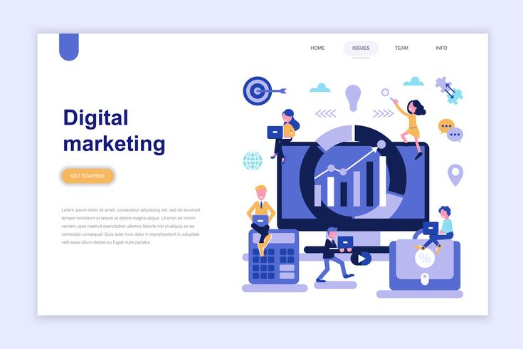 Landingspagina sjabloon van digitale marketing moderne platte ontwerpconcept. Leren en mensen concept. Conceptuele platte vectorillustratie voor webpagina, website en mobiele website. vector