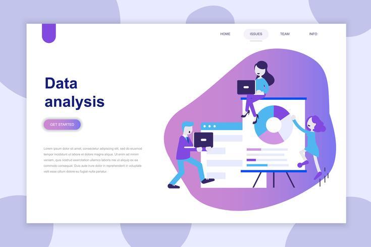 Modern plat ontwerpconcept van gegevensanalyse voor website en mobiele website. Bestemmingspaginasjabloon. Kan gebruiken voor webbanner, infographics, hero images. Vector illustratie.