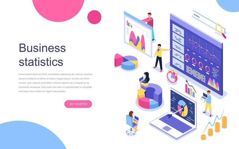Modern plat ontwerp isometrisch concept van bedrijfsstatistiek voor banner en website. Bestemmingspaginasjabloon. Consulting voor bedrijfsprestaties, analyseconcept. Vector illustratie.
