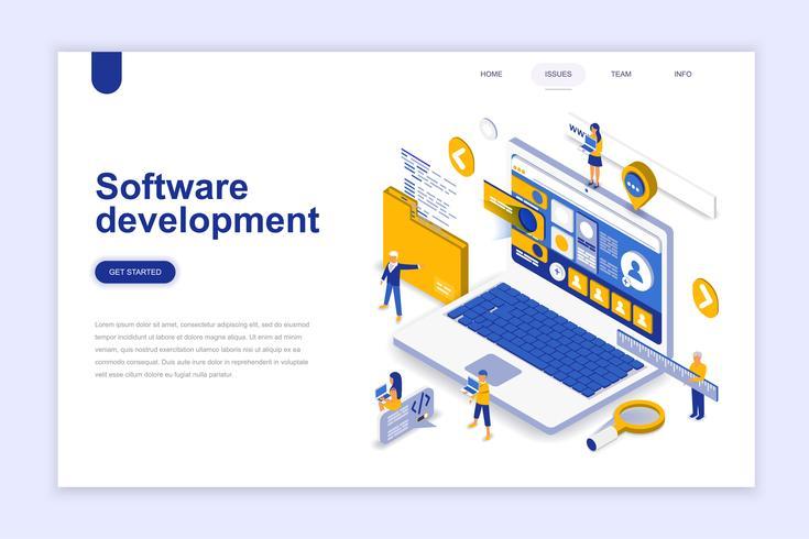 Softwareontwikkeling moderne platte ontwerp isometrische concept. Ontwikkelaar en mensenconcept. Bestemmingspaginasjabloon. Conceptuele isometrische vectorillustratie voor web- en grafisch ontwerp. vector