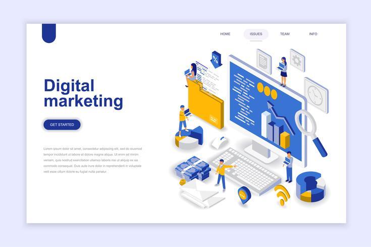 Digitale marketing moderne platte ontwerp isometrische concept. Reclame en mensen concept. Bestemmingspaginasjabloon. Conceptuele isometrische vectorillustratie voor web- en grafisch ontwerp. vector