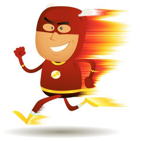 komische snel lopende superheld vector