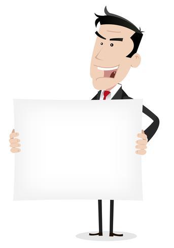 Wit zakenman bedrijf advertentieboodschap vector