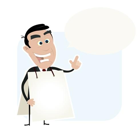 Witte Bedrijfsmens die een Sandwichraad houdt vector