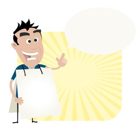 Jonge Man Met Een Sandwich Board vector