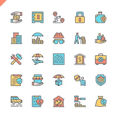 Platte lijn verzekering elementen pictogrammen instellen voor website en mobiele site en apps. Overzicht iconen ontwerp. 48x48 Pixel Perfect. Lineair pictogrampakket. Vector illustratie.