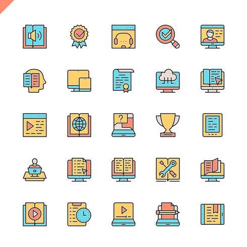 Platte lijn e-learning, online onderwijs elementen pictogrammen instellen voor website en mobiele site en apps. Overzicht iconen ontwerp. 48x48 Pixel Perfect. Lineair pictogrampakket. Vector illustratie.